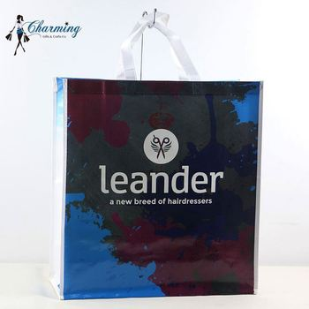Factory sale attractive style blue mixed black laminated woven shopping bag