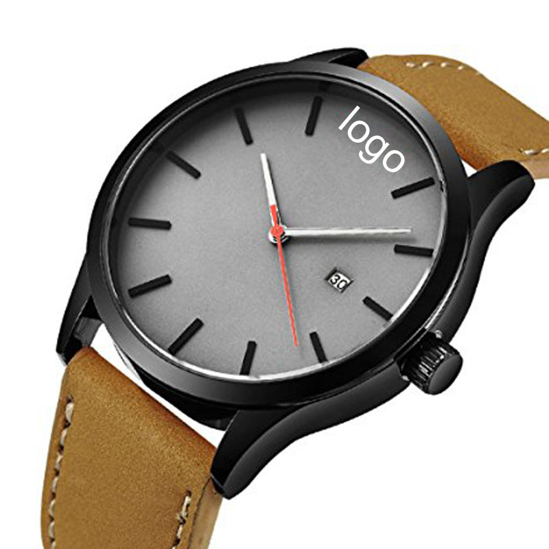 Classic Business Casual Waterproof Dress Wristwatch with Brown Leather Band and Calendar Date Window Watch