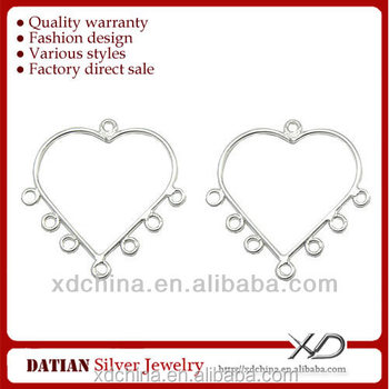 XD X128 925 sterling silver heart earring connectors earrings sterling silver