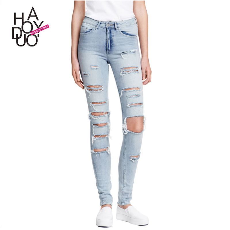 Haoduoyi Autumn Streetwear Slim Casual Pants Light Blue Natural Waist Jeans Sexy Pockets Basic Ripped Skinny Jeans For Wholesale