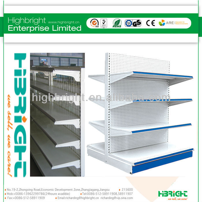 double-sided Display Supermarket Rack, Metal Shelf, Retail Shelving System