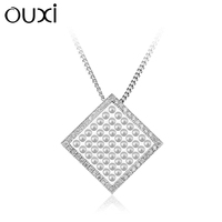 OUXI square multiple pearl pendant , new arrived new model necklace jewellery Y30099