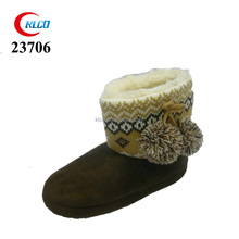cute high quality brown fluffy slipper boots with hair ball