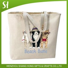 durable and heavy summer Beach Bums funny cute Cats Large Canvas Cotton Tote Bag Beach Travel Shop Gifts