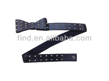 black bow rivet stretch elastic belt with snaps