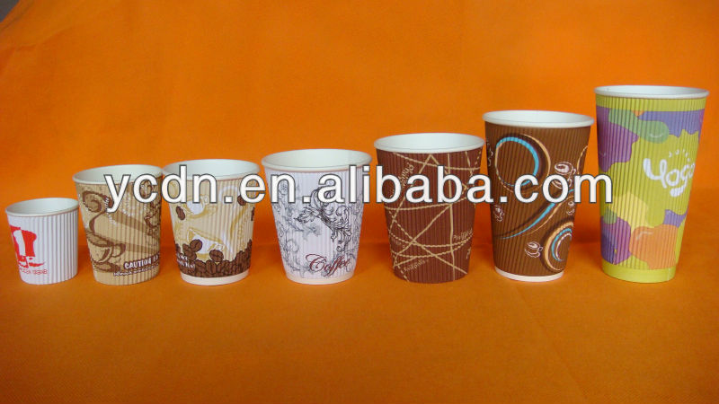 ripple wall disaposalbe paper cup coffee cup with lid and stirrer