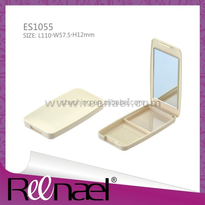 plastic box cosmetic case compact powder case square shape case with mirror