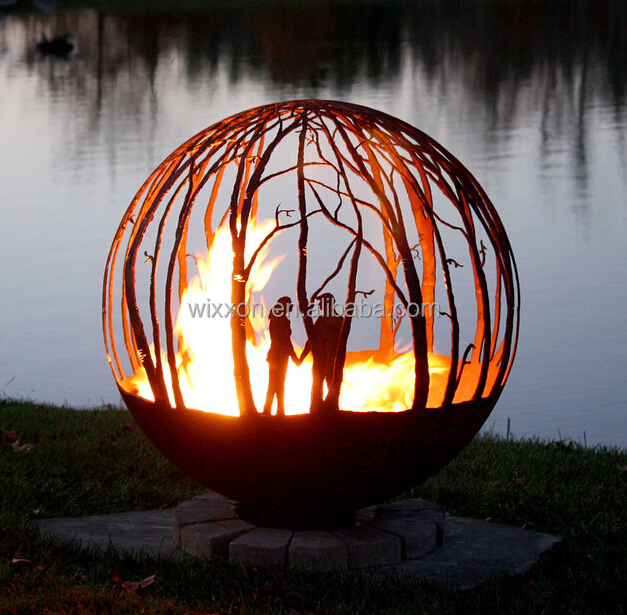 Alibaba Hot-selling Patio Corten Steel Sulpture Outdoor Fire Pit