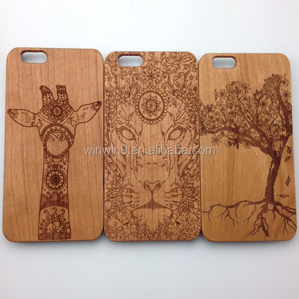 Wholesales Creative Laser carving real wood Phone Case For Iphone 7 plus Laser carving wood phone case