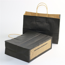 Branded Shopping Biodegradable Black Kraft Paper Bag Jewelry Packing