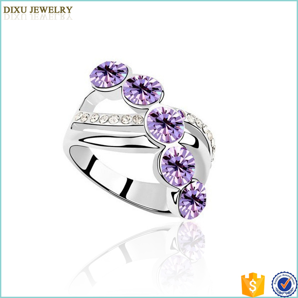 Jewelry Manufacturer China Wholesale 18K Rose Gold Plated With Austrian Crystal Wedding Smart Ring For women