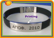 Factory directly print logo black silicone bracelet / wristband / rubber band with metal button / buckle
