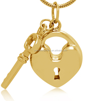 Best Birthday Gift For Lovers 316L Gold Plated Stainless Steel Cremation Keepsake Large Heart Key Memorial Urn Pendant Wholesale