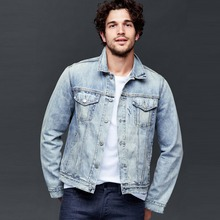 classic light blue vintage denim jacket for men custom printed