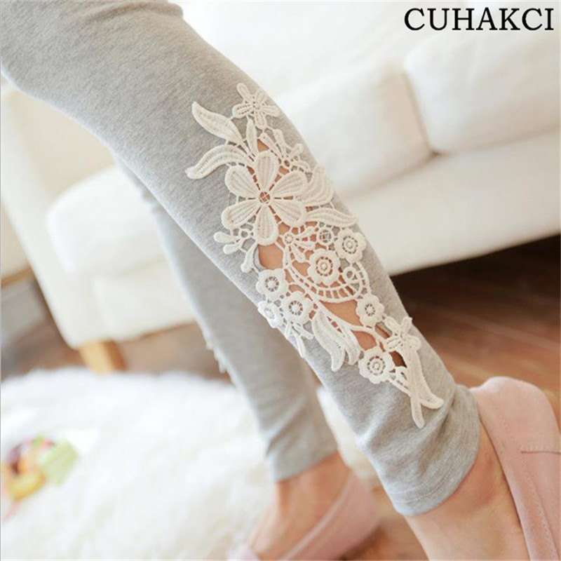 Hollow Out Design Women Fashion Summer Pants & Capris Stretch Legging Trousers Ladies Lace Flower knitted Leggings Cotton