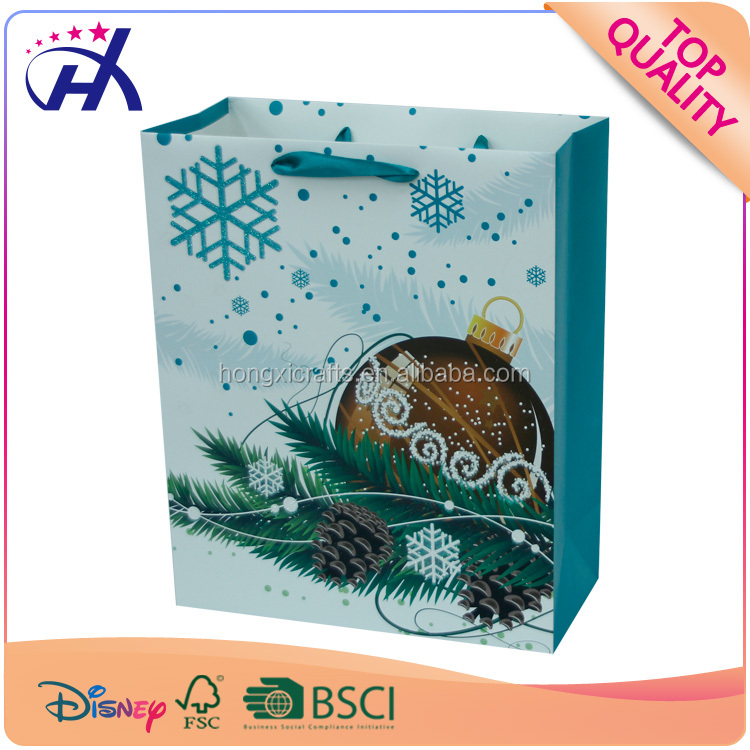 Matt Christmas glitter shopping Paper Bags fold coated paper bag