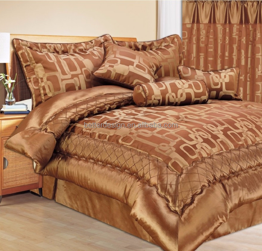 7pcs 100 Polyester Luxury Warm Color Jacquard Comforter Set With Matching Curtains Buy