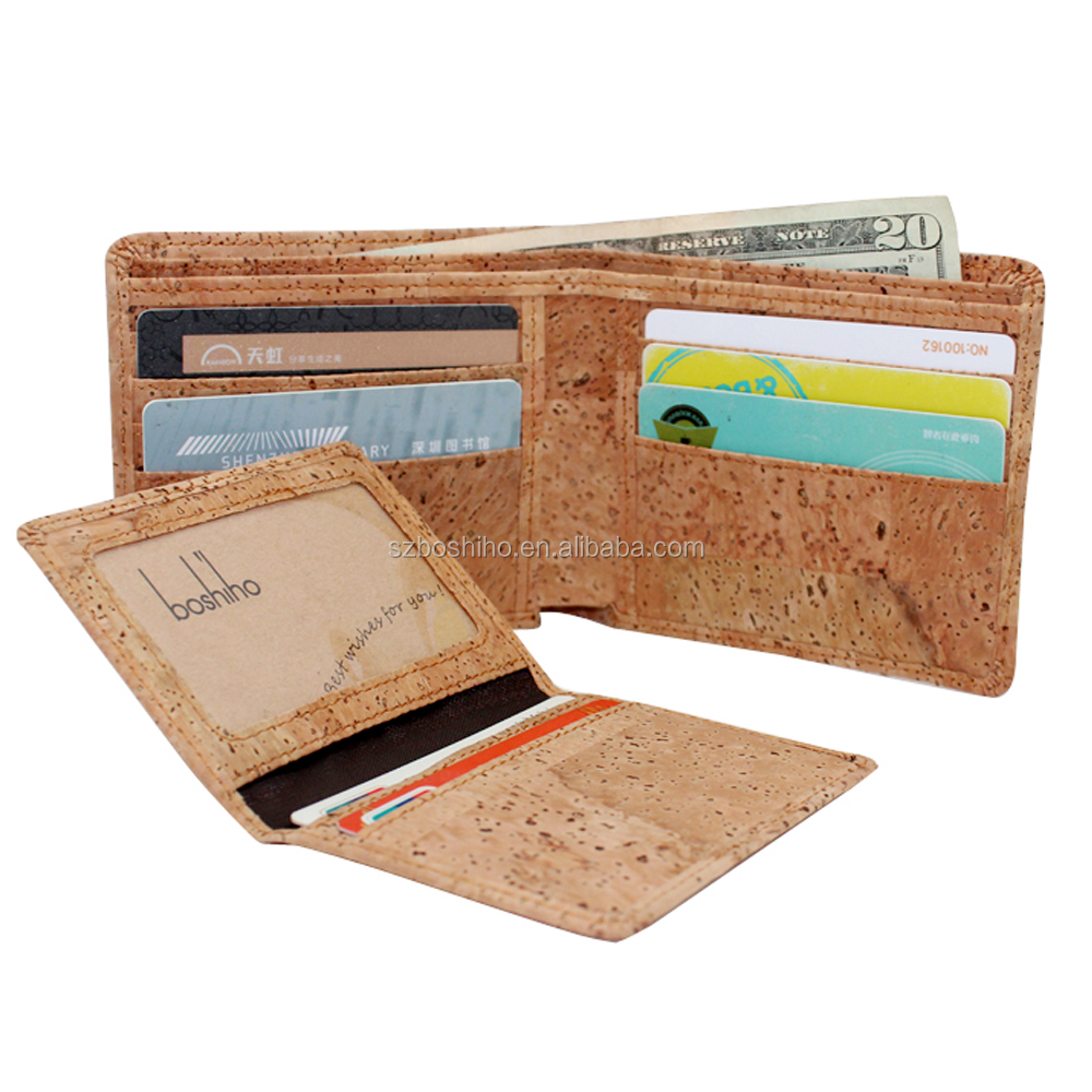 Money clip wallet cork rfid Boshiho new peoducts 2017 lady wallet card holder vegetarian wallet gift box