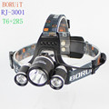 BORUIT RJ-3001 1xCREE XML T6+2xCREE R2 1600 Lumens 4-Mode USB Rechargeable LED Headlamp (2x18650)