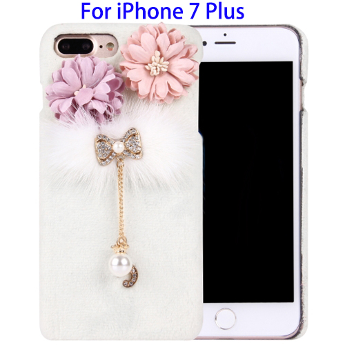 Wholesale Price 3D Flower Diamond Encrusted Bowknot Plush Cloth Cover PC Case for iPhone 7 Plus with Chain Pendant