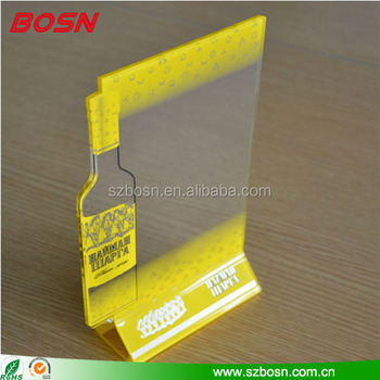 Good quality clear acrylic sign stand Perspex menu holder for table top