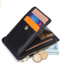 Boshiho Stylish Genuine Leather Coin Purse Foldable rfid card holder wallet
