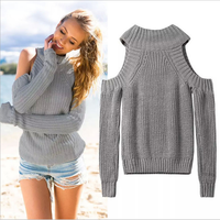 15275 New Fashion 2015 Women Autumn Winter European Style Long Sleeve Off-Shoulder O-Neck Slim Fit Women Simple Pullover Sweater