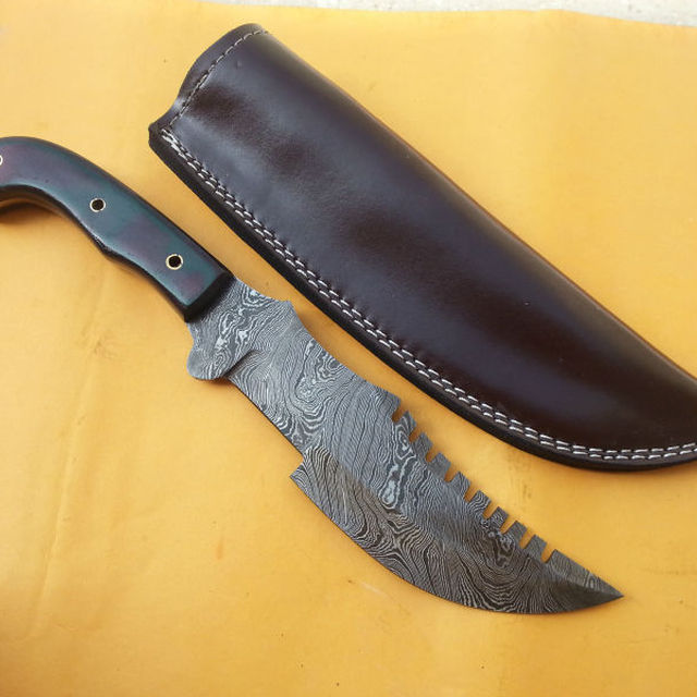 Custom Hand Made Damascus Blade Tracker Knife with Leather Sheath