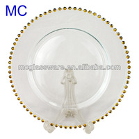 MC Wholesale Silver Gold Bead Decorative Round Clear Glass Plates
