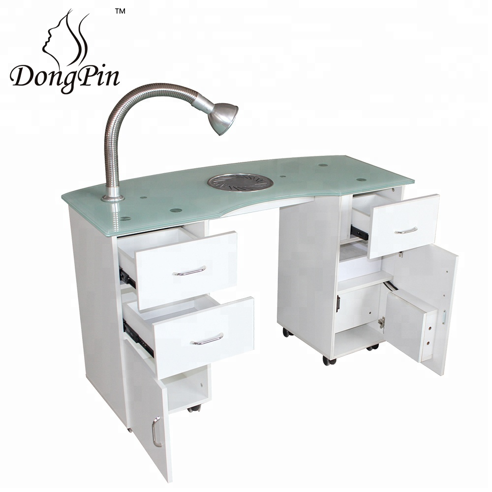 Nail Salon Furniture Glass Top White Manicure Table For Nail Shop ...