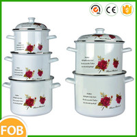 With SGS Certificate steel decal printing 10pcs porcelain enamel cookware