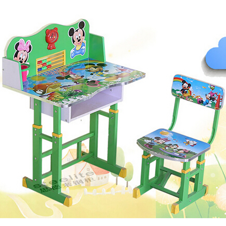 Cheap nursery school desk and chair/adjustable height children desk and chair on sale