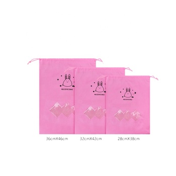 Pink silk screen printing 120gsm non woven drawstring shoe bag