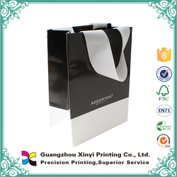 Glossy white and black colour customized printing plain paper bag with handles