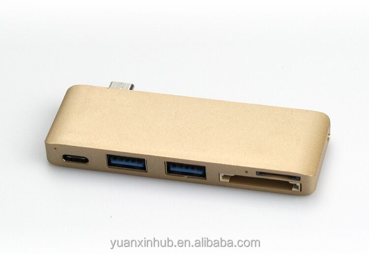 Aluminum metal Type C USB c to SD/TF card reader+USB3.0 HUB +PD charging function
