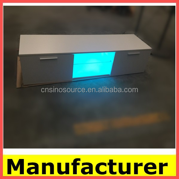wholesale Modern LED wood TV stand furniture with glass rack