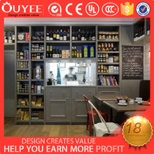 Customized shop Interior design wooden wine glass display cabinet stand for store furniture