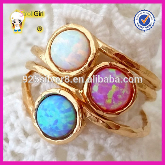 Sterling Silver 925 Ring Opal Gemstone Ring with 18k Gold Plating