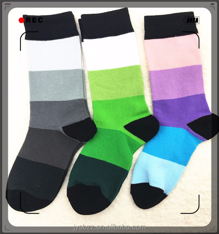 wide stripe assorted color crew socks for unisex large export high quality knitting socks