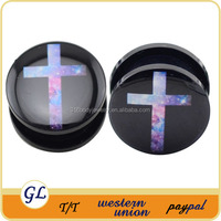 Body piercing jewelry picture of cross enamel with acrylic tunnel ear