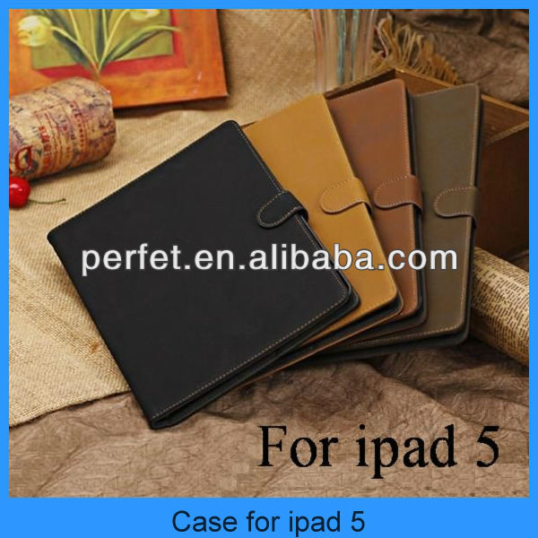 2013 new arrival top grade Vintage style leather case for ipad 5 (PT-IP5201)