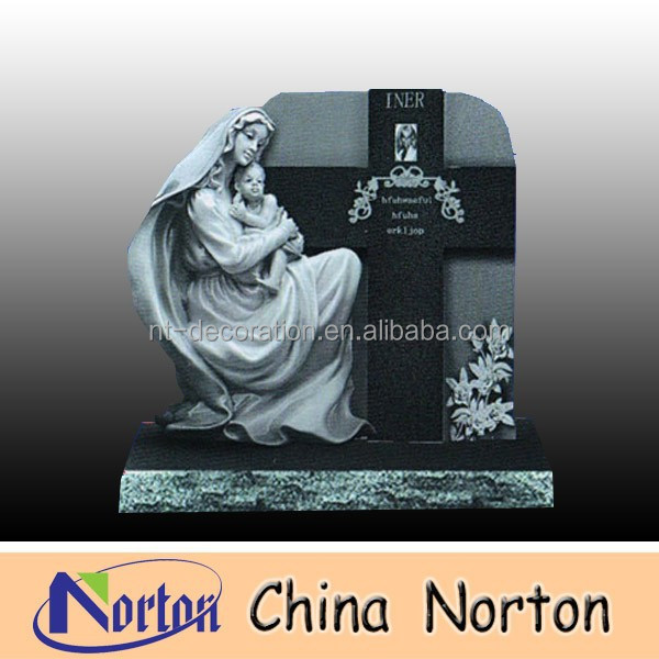 Russian market style holding new life baby factory produced granite tombstone NTGT-016