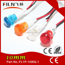 10mm Amber signal light ship nylon 110v 220v Led pilot lamp with 20cm wire