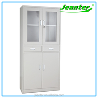 China Manufacturer Steel Office Furniture Up Glass Door Metal Folding Cupboard