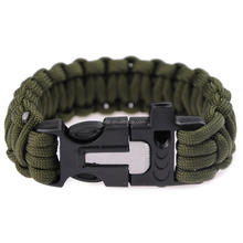 military greens survival parachute cord weaves style survival bracelet with fire starter buckle