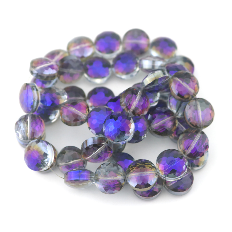 Faceted Crystal Glass Beads 14x8mm Flat Round Beads Purple Plated Loose Charm Accesories For Necklace Brooch Bracelet DIY 50pcs