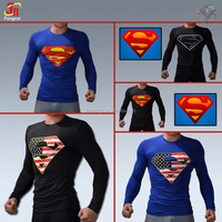 High quality superman S American flag graphic offset print t shirt men fitness stretch running tights round neck shirt for gym