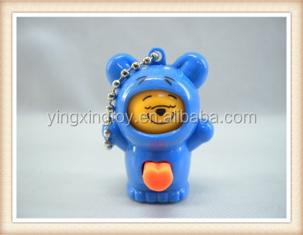 plastic mini cartoon key chain face changing doll