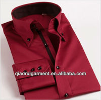 New fashion French cuff 100% cotton satin high quality long sleeve red color shirt for men with button dowm