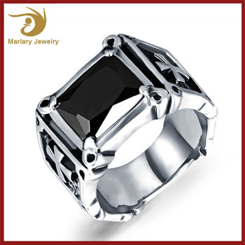 2017 Wholesale Stainless Steel Imitation Jewellery Ring Men Gothic Style Jewelry , Single Stone Ring Designs For Men